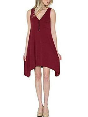 Product Image Zipper V-neck Women Sleeveless Solid Casual Loose Irregular  Dress eaee03909e96