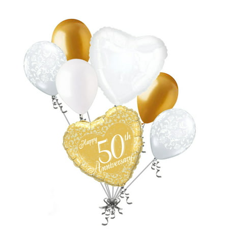 50th Wedding Anniversary Balloons Decorations (7 pc 50th Gold Happy Anniversary Balloon Bouquet Party Decoration Married)