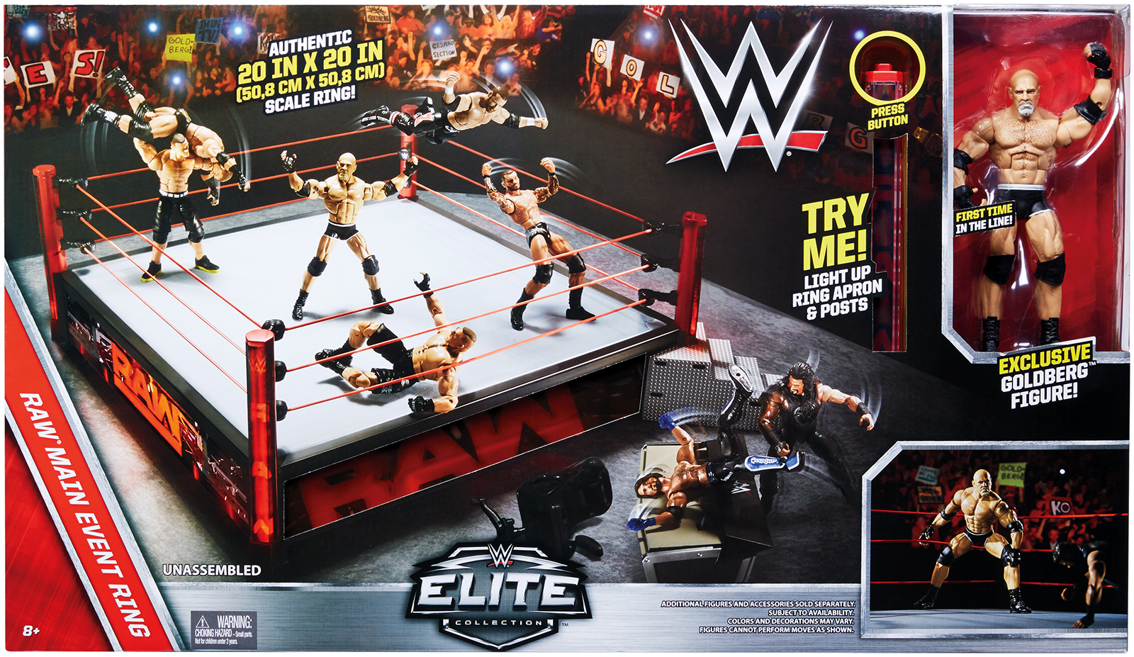 """WWE Main Event"" Raw Elite Scale Wrestling Ring w  Goldberg Figure by Mattel"