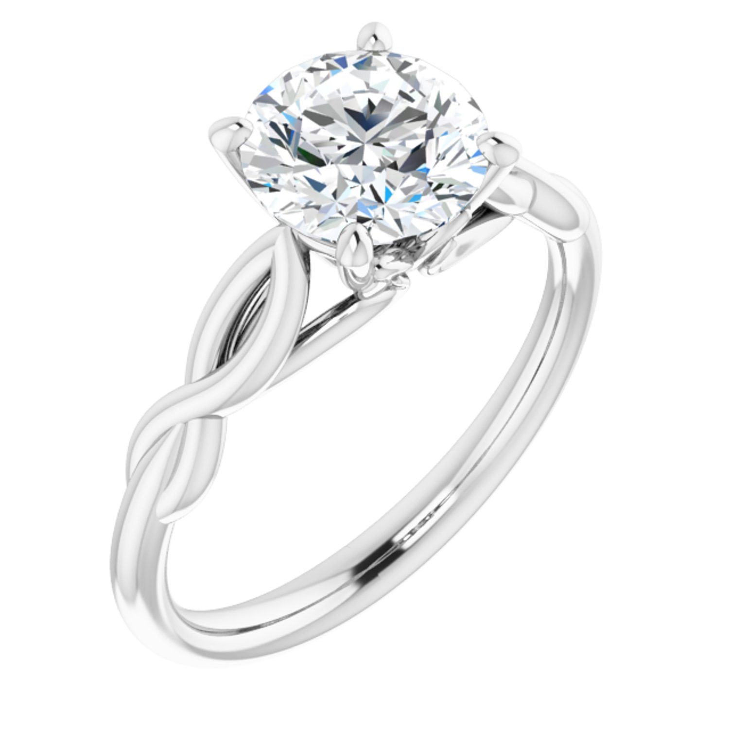 1 50 Carat Round Cut Forever One Created Moissanite Set In Solid Platinum Infinity Inspired Solitaire Engagement Ring Size 7 Walmart Canada