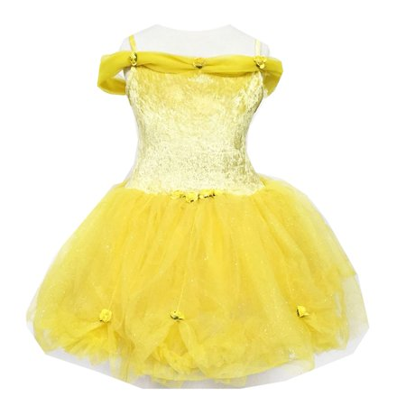 Calla Collection Girls Yellow Off-Shoulder Glitter Bubble Halloween Dress