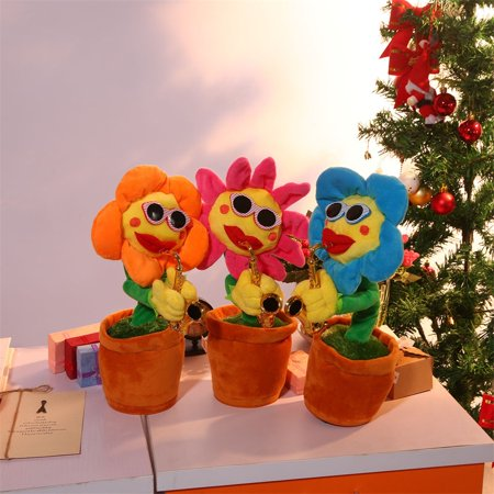 Funny Singing and Dancing Enchanting Sunflower with Saxophone Christmas Birthday Gift Decoration Toy, Red