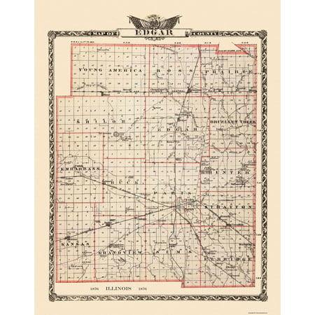 Old County Map   Edgar Illinois Landowner   1876   23 X 29 44