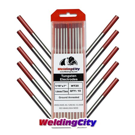"WeldingCity 10 TIG Welding Tungsten Electrodes 2% Thoriated (Red) 1/16""x7"" (10Pk Box)"