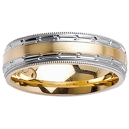 18K Two Tone Gold Center Runway Modern Comfort Fit Women
