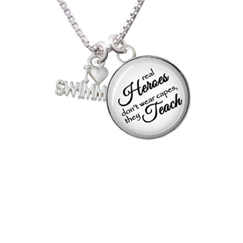 "I Heart Swimming Real Heroes Teach Glass Dome Necklace, 18""+2"" by Delight and Co."