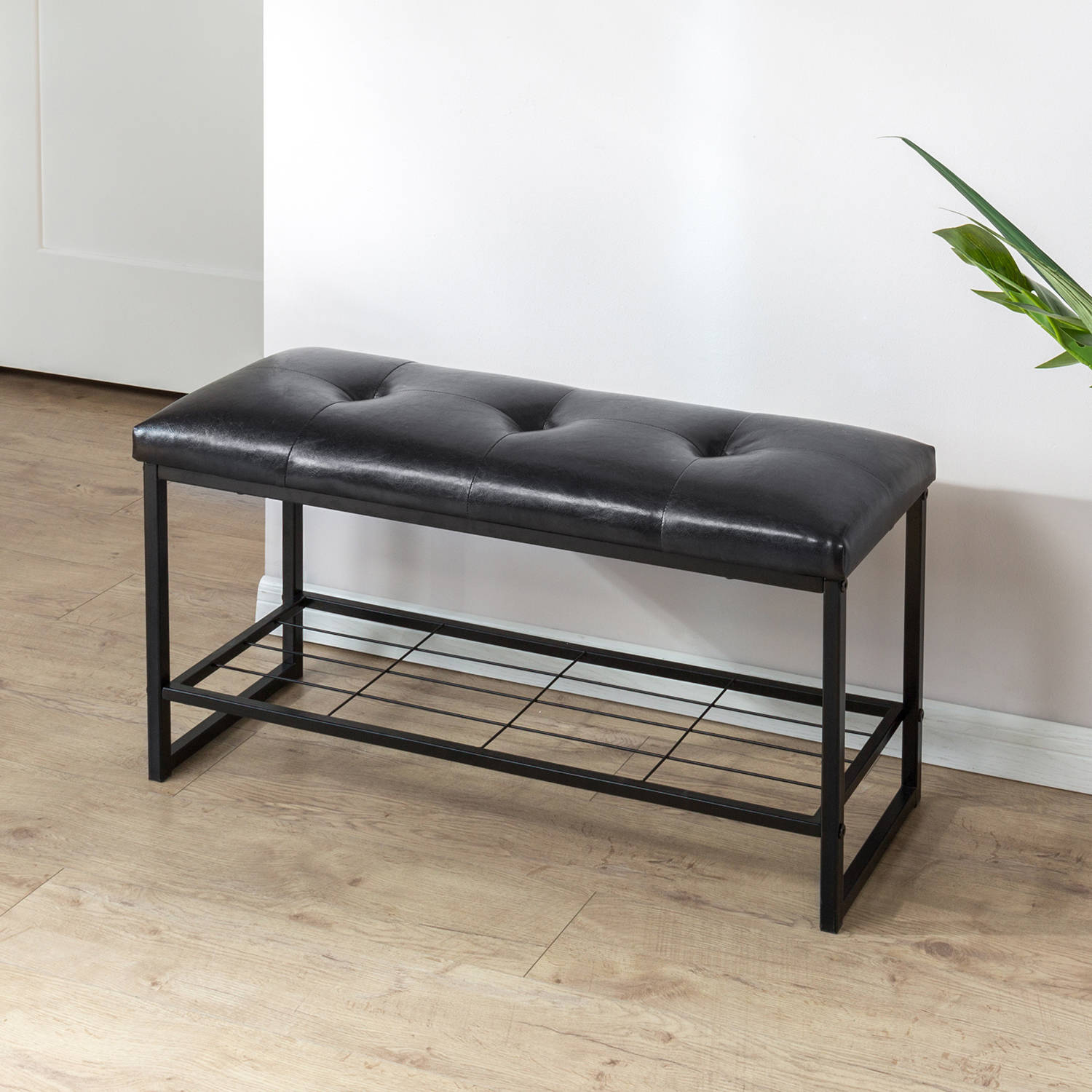 "Zinus Mindy Faux Leather 36"" Tufted Bench with Storage Shelf"