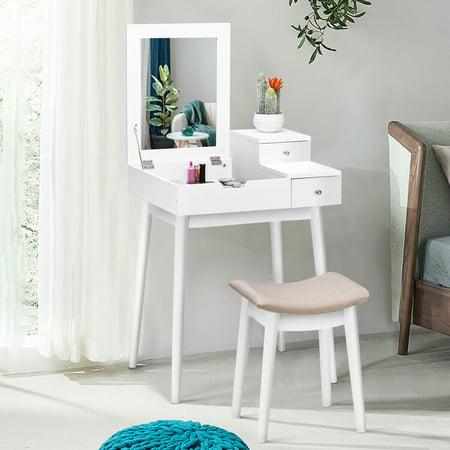 Costway Vanity Dressing Table Set Flip Mirror Desk Furniture Stool W/ 2 Drawer White - image 7 of 10
