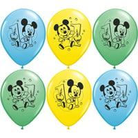 "Party Supplies -Pioneer Latex Balloons 6 ct 12"" Disney Mickey 1st Birthday 30844"