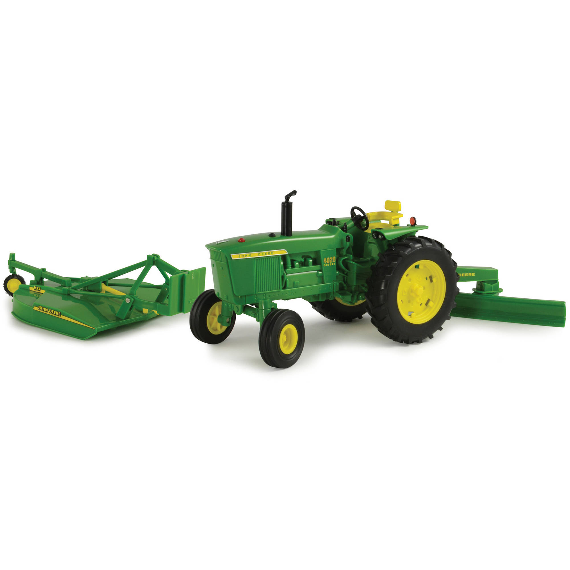 TOMY 1:16 Scale Big Farm John Deere 4020 with Rear Blade and Mower by TOMY