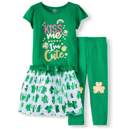 St. Patrick's Day Short Sleeve T-Shirt, Leggings & Tutu, 3pc Outfit Set (Toddler Girls)