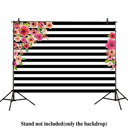 HelloDecor Polyster 7x5ft photography backdrops Black and white stripe watercolor pink flower banner Birthday party wedding decoration bridal shower photo studio booth background photocall