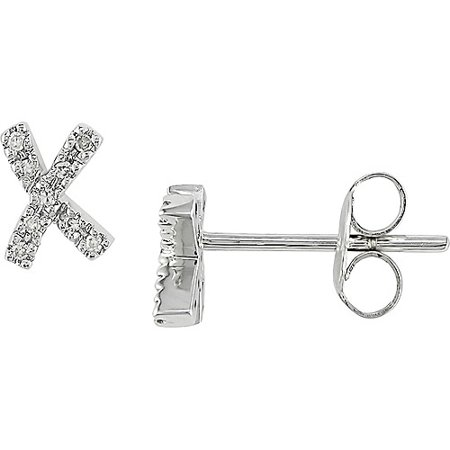 14kt White Gold Diamond X Earrings