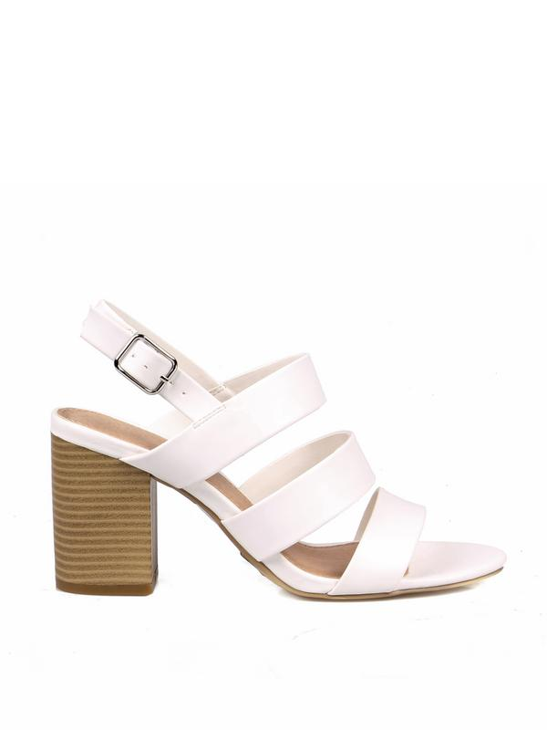 Fahrenheit Strappy Women's Chunky High Heel Sandals in White