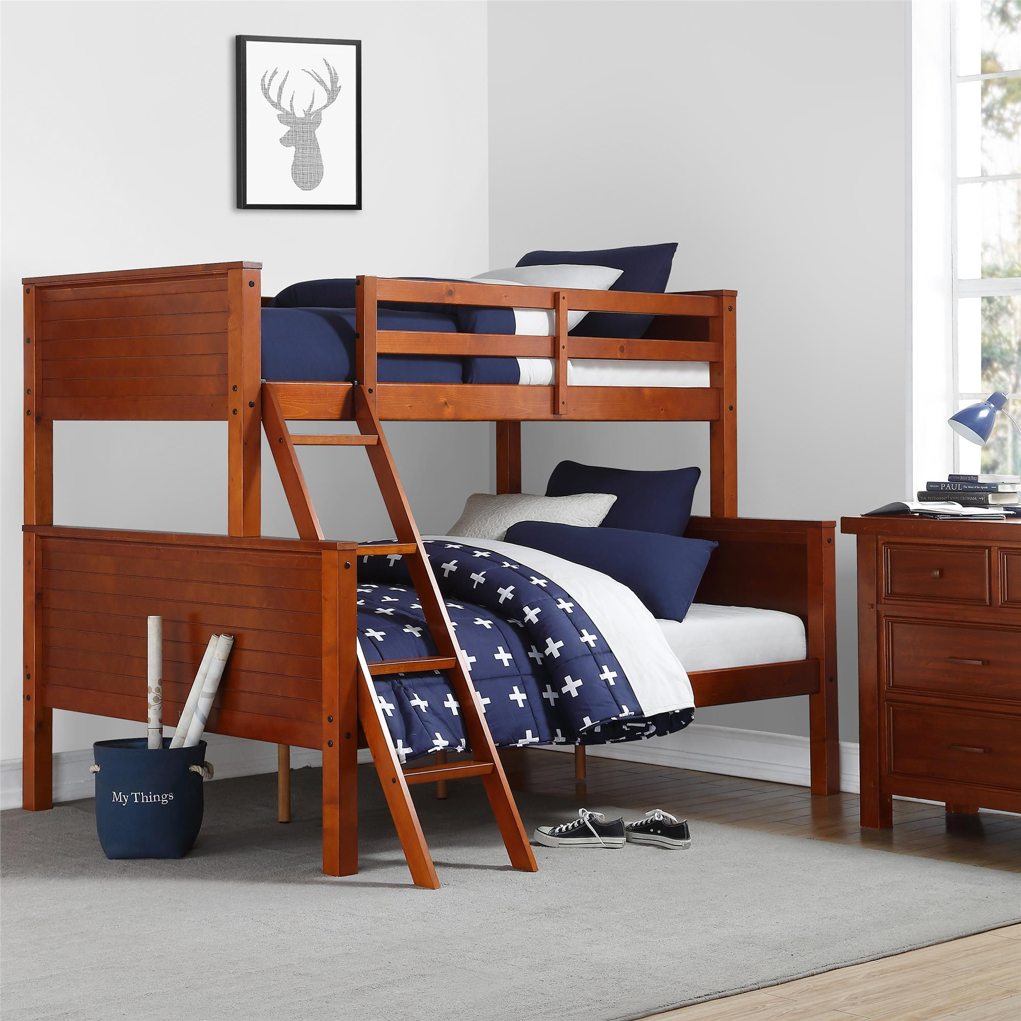 Picture of: Your Zone Wooden Convertible Twin Over Full Bunk Bed Walnut Walmart Com Walmart Com