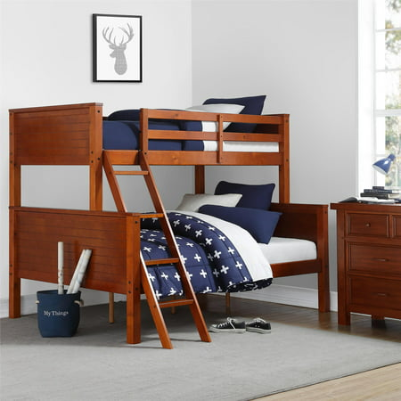 Your Zone Wooden Convertible Twin-Over-Full Bunk Bed, Walnut