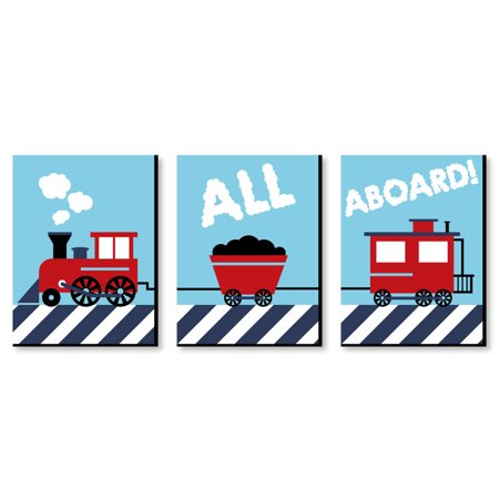 "- Railroad Crossing - Steam Train Baby Boy Nursery Wall Art & Kids Room Decor - 7.5"" x 10"" - Set of 3 Prints"