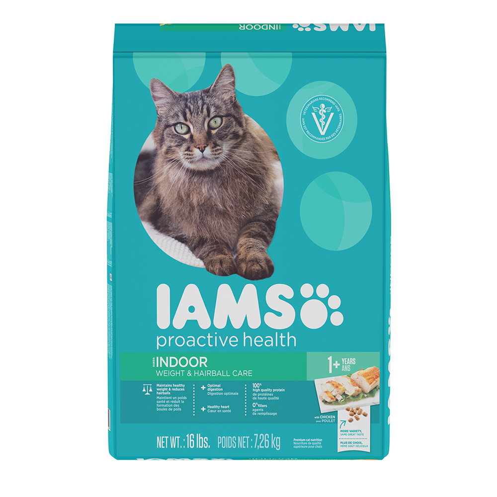 IAMS PROACTIVE HEALTH INDOOR WEIGHT & HAIRBALL CARE Dry Cat Food 16 Pounds