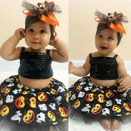Toddler Baby Girl Halloween Outfits Crop Tops Tutu Skirt Dress Cake Smash Dress Patty Cake Dress