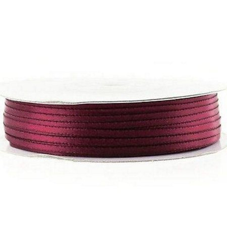 Wine Double Faced Satin Ribbon - 1/16th Inch Width - 100 Yards