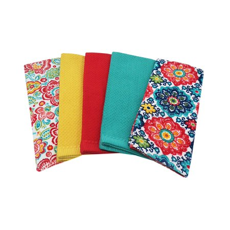 Mainstays, 5 Pack, Kitchen Towel Set, Assorted Solid/Print