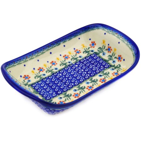 Hand Painted Handled (Polish Pottery 8¾-inch Platter with Handles (Spring Flowers Theme) Hand Painted in Boleslawiec, Poland + Certificate of Authenticity)