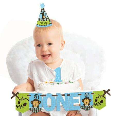 Blue Monkey Boy 1st Birthday - First Birthday Boy Smash Cake Decorating Kit - High Chair Decorations - Monkey Birthday