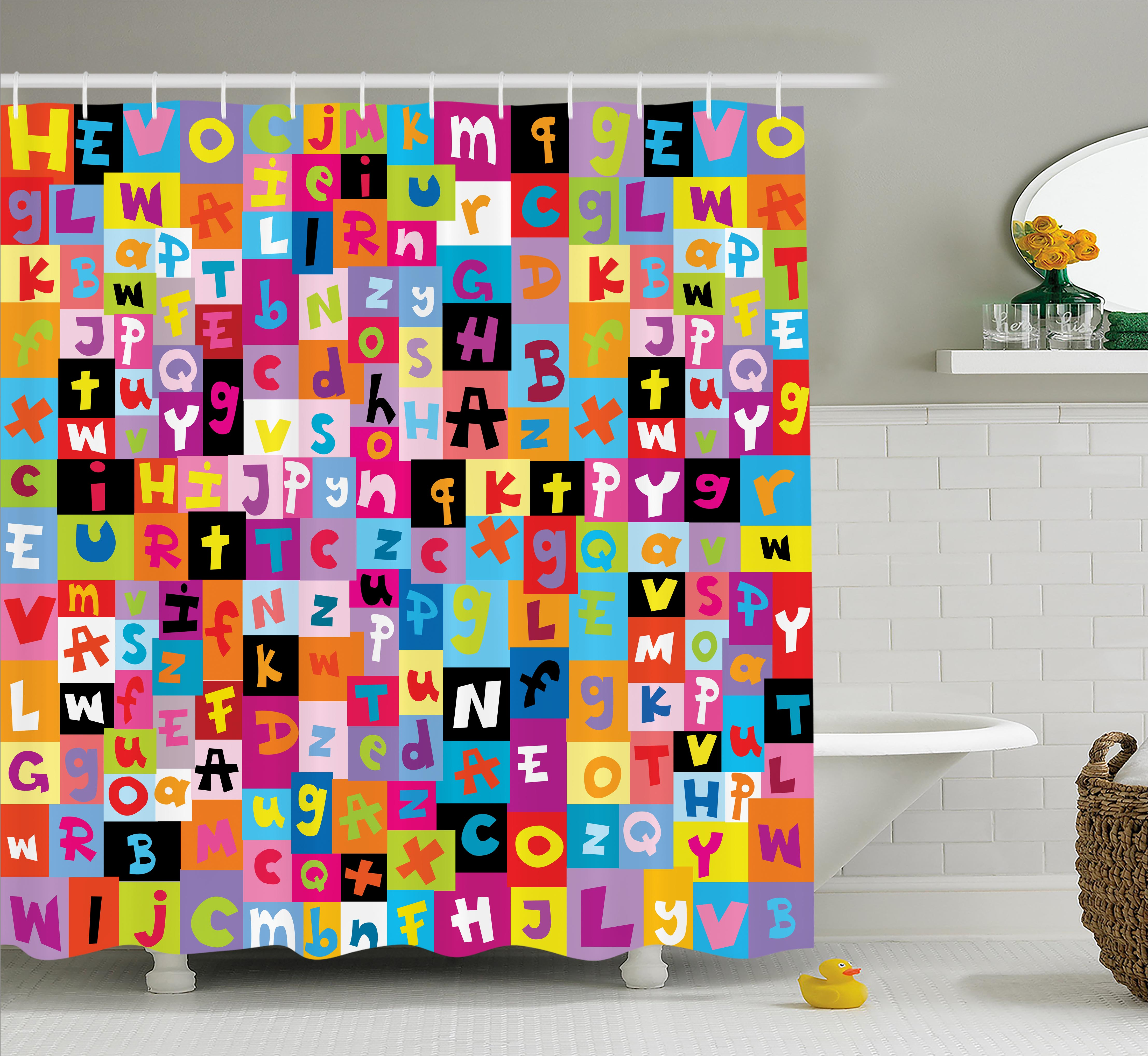 Abstract Shower Curtain, Colored Alphabet Letters Pattern Education School  Puzzle Children Graphic Print, Fabric