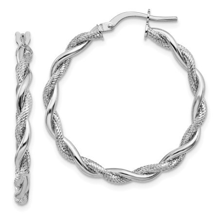 - 14k White Gold Large 3mm Polished & Diamond-cut Twisted Hoops