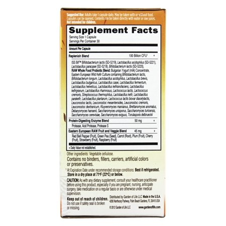 Garden Of Life Raw Probiotics Ultimate Care 34 Probiotic Strains 100 Billion Cfu 30 Vegetarian Capsules Walmart Canada