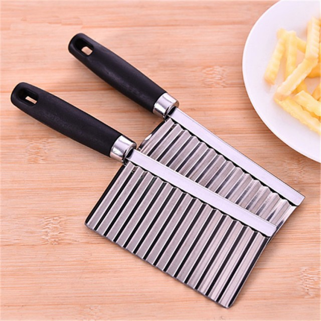 Stainless Steel Potato Wavy Edged Cutter Knife Gadget Vegetable Fruit Potato Cutter Peeler Cooking Tools