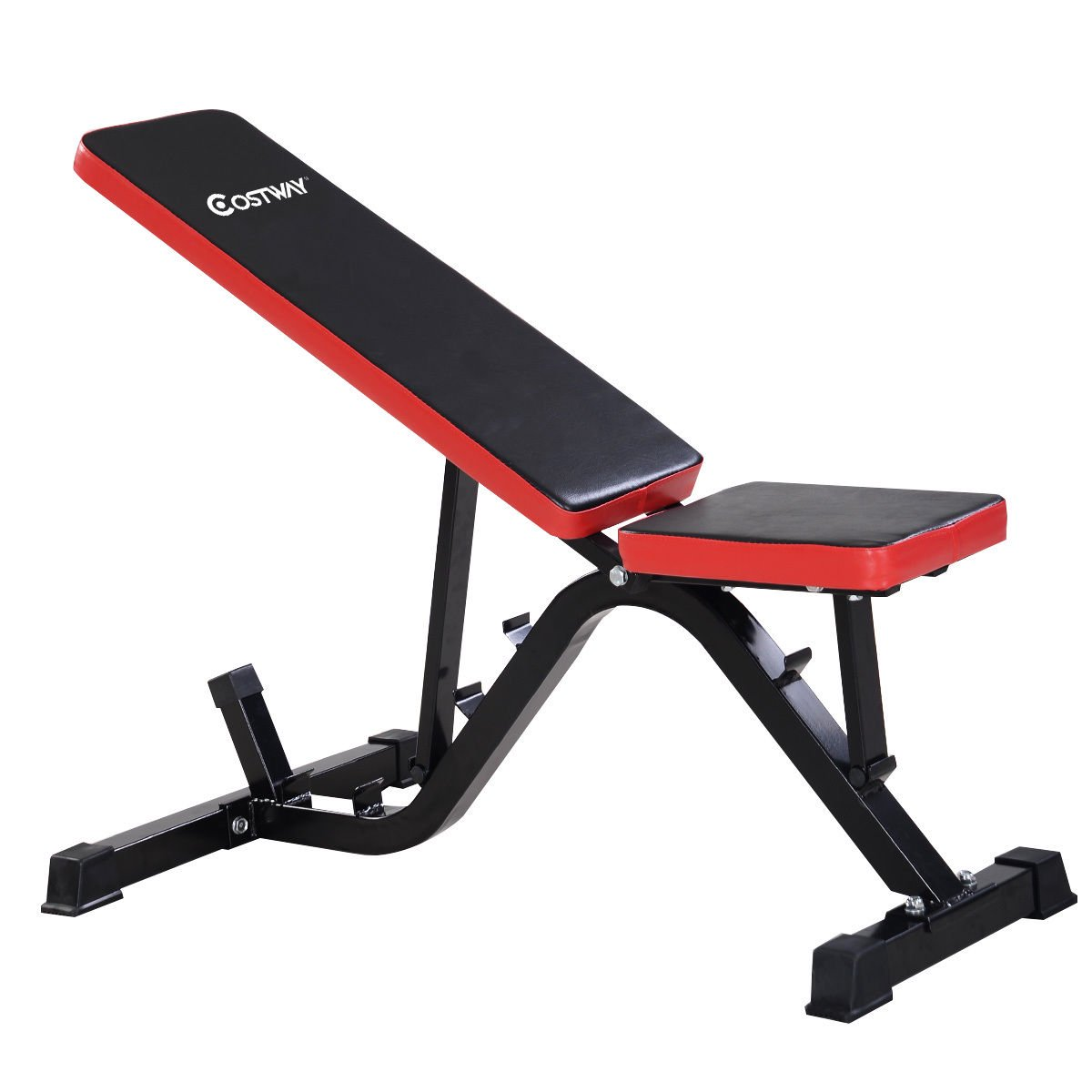 Goplus Adjustable Sit Up AB Incline Abs Bench Flat Fly Weight Press Gym Red Fitness & Jogging Crosstrainer
