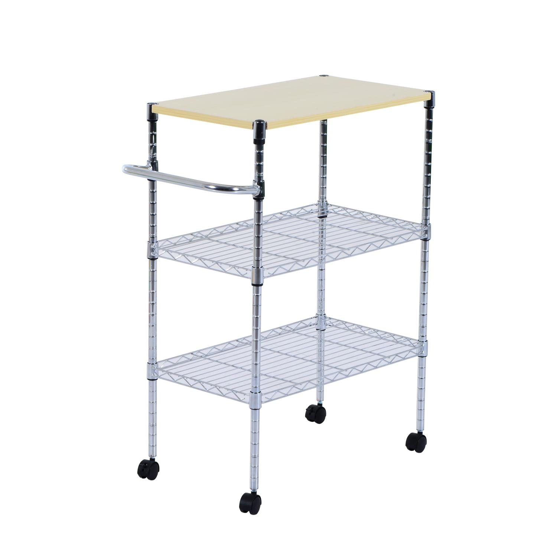 Homcom 24 Quot Portable Rolling Wire Shelf Kitchen Cart