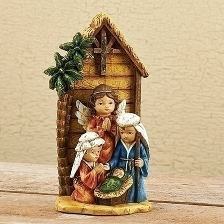 Holy Family Bronze - Stable with Holy Family and Angel Christmas Kids Pageant Nativity Figurine 30335