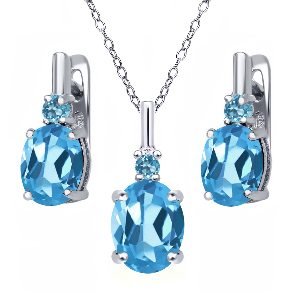 6.68 Ct Oval Swiss Blue Topaz and Simulated Topaz 925 Silver Pendant Earring Set by