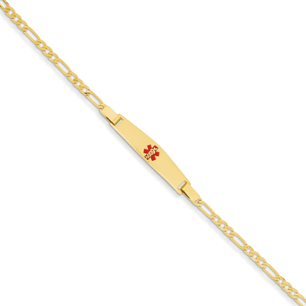 14k Yellow Gold Engravable 6in Medical Jewelry Children's Bracelet (Plate: 1.2inx 0.2in)