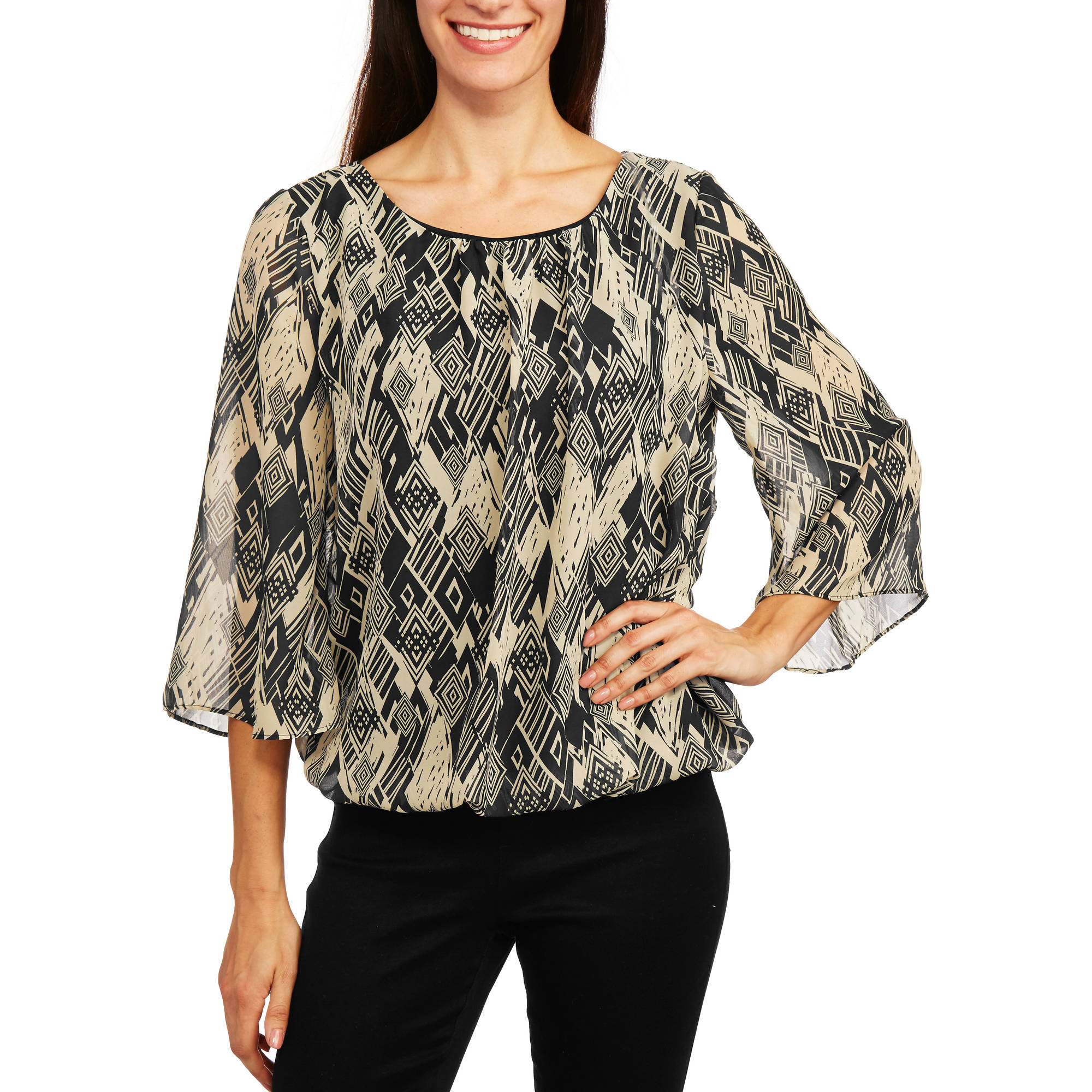 Glamour & Co. Women's Long Sleeve Tie Dye Printed Top