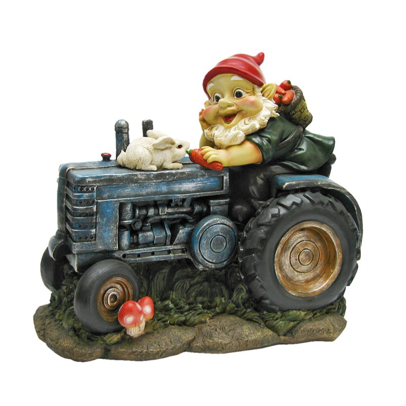Design Toscano Bunny on Board the Tractor Garden Gnome Statue by Design Toscano