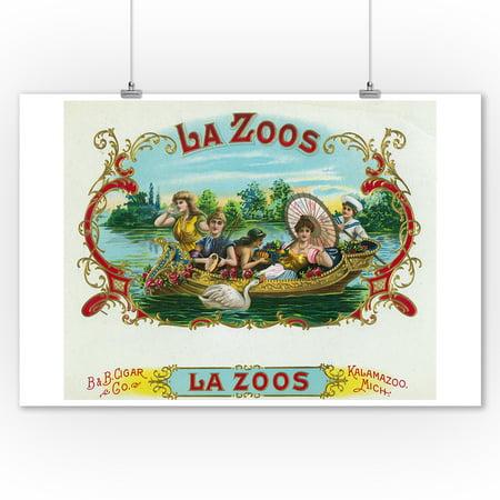 La Zoos Brand Cigar Box Label - Nautical (9x12 Art Print, Wall Decor Travel Poster) - Nautical Box