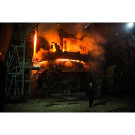 Canvas Print Blast Furnace Steel Liquid Fire Industry Iron Stretched Canvas 10 x 14