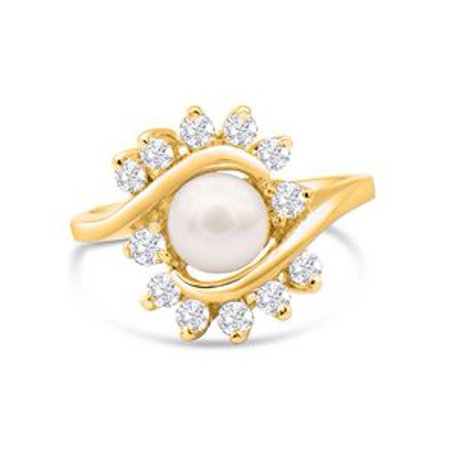 Round Freshwater Cultured Pearl and 1/2 Carat Halo Diamond Ring In 14 Karat Yellow Gold Size