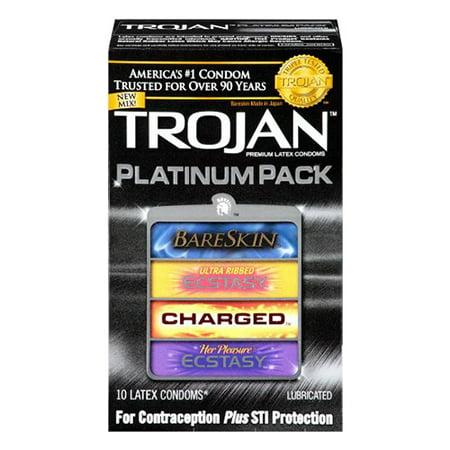 Smart Parts Barrel Condom - Trojan Platinum Pack Latex Condoms -10 Ea