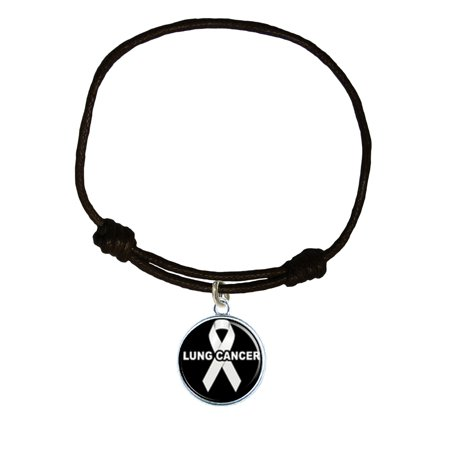 Lung Cancer Awareness Black Leather Unisex Bracelet Jewelry](Lung Cancer Jewelry)