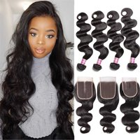 "Unice Hair Icenu Series Peruvian Body Wave Hair 4 Bundles With Lace Closure Three Part Human Hair Extensions, 12""12""14""14""+10"""