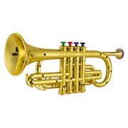 Trumpet Kids Musical Wind Instruments ABS Metallic Gold Trumpet with 4 Colored Keys