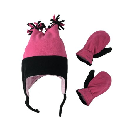 N'ICE CAPS Girls Fleece Winter Hat and Mittens Set 2-Ply Fleece with Fuzzy Sherpa Lining 4-Corner Ski Hat - Infants Toddlers Kids Sizes ()