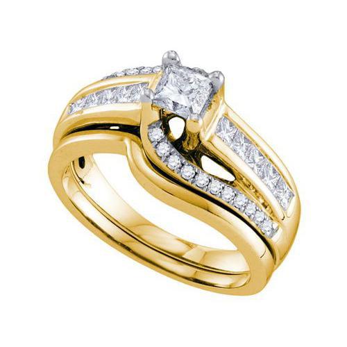 1.0Ctw Diamond 0.40Ct Center Princess Bridal Set Womens Fixed Ring Size - 7