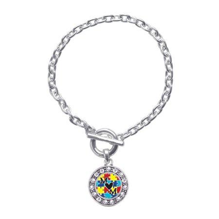 Autism Mom Circle Charm Braided Toggle Bracelet