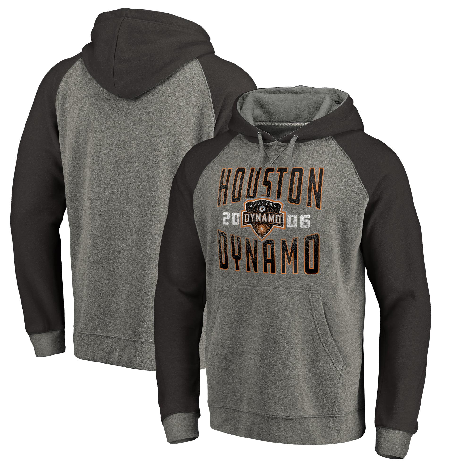 Houston Dynamo Fanatics Branded Antique Stack Tri-Blend Raglan Pullover Hoodie - Heathered Gray