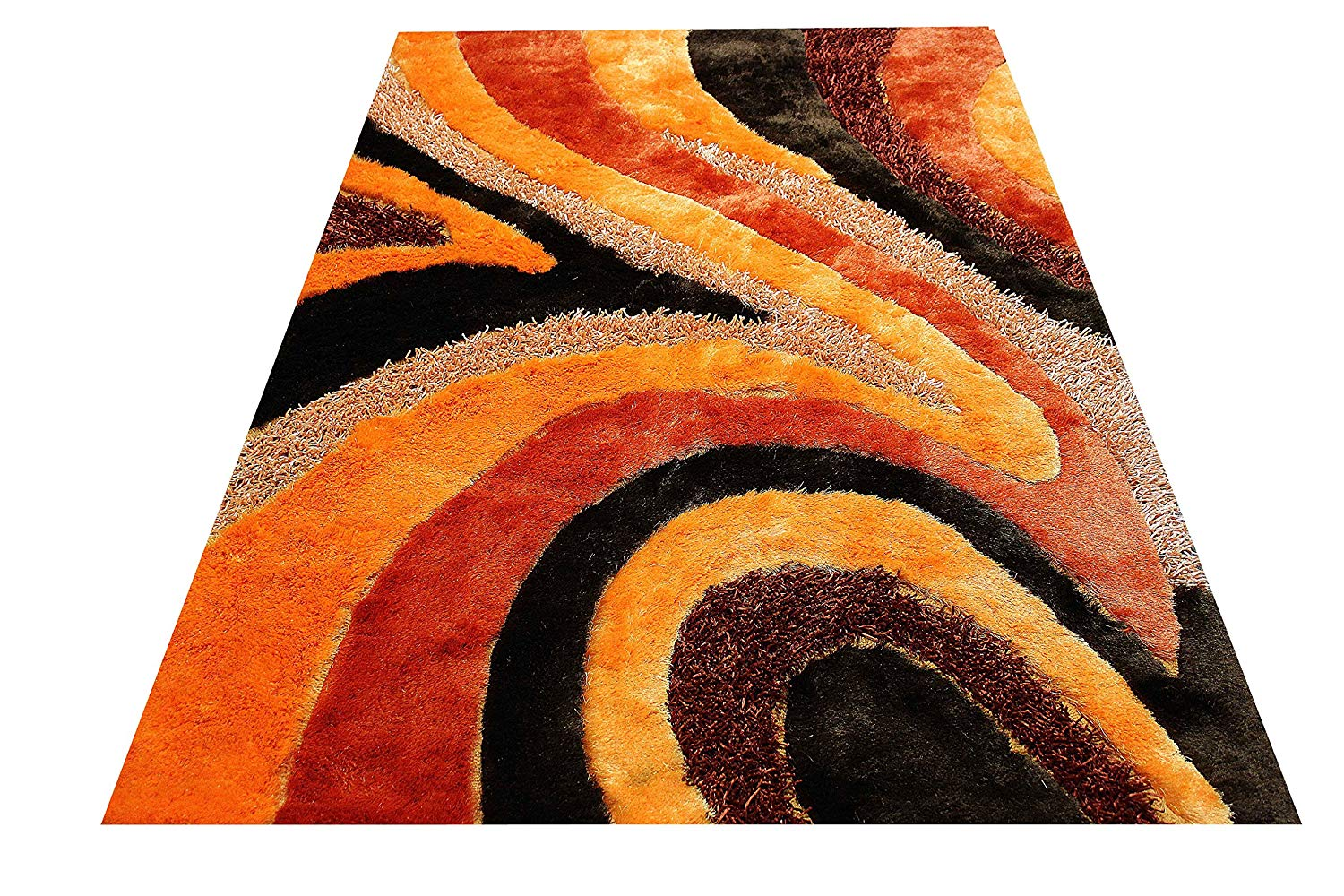 3d Dark Orange Light Orange Burgundy Shaggy Shag Area Rug